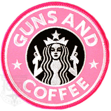 GUNS AND COFFEE PATCH PINK