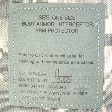 BODY ARMOR INTERCEPTOR ARM PROTECTOR COVER 米軍放出品
