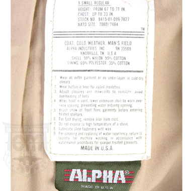ALPHA M65 COAT COLD WEATHER MANS FIELD