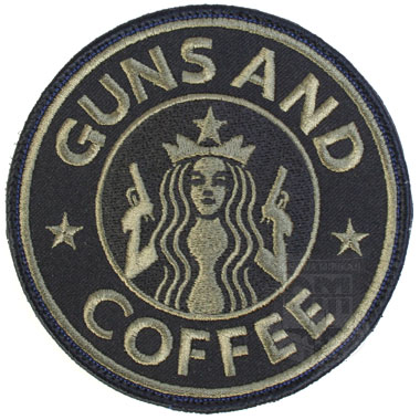 GUNS AND COFFEE BLACK 丸型ワッペン