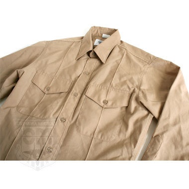 SHIRT MAN LONG SLEEVE POLY/WOOL KHAKI