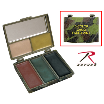 FIVE-COLOR WOODLAND/GREY BARK CAMOUFLAGE FACE PAINT COMPACT